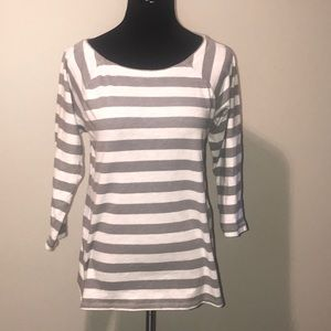 J Crew 3/4 sleeve striped top with zippers Medium